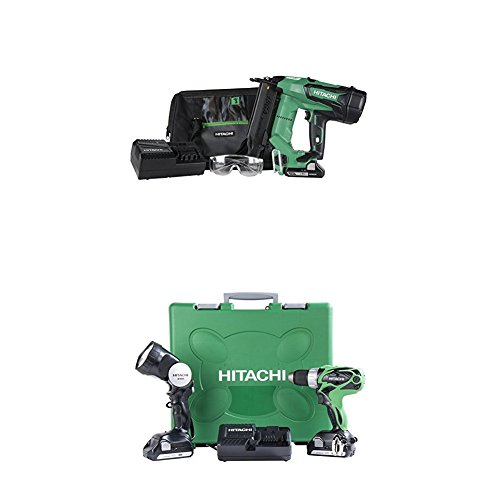 Hitachi NT1850DE 18-Volt Cordless Brad Nailer and DS18DSAL 18-Volt Cordless Driver Drill with Flashlight