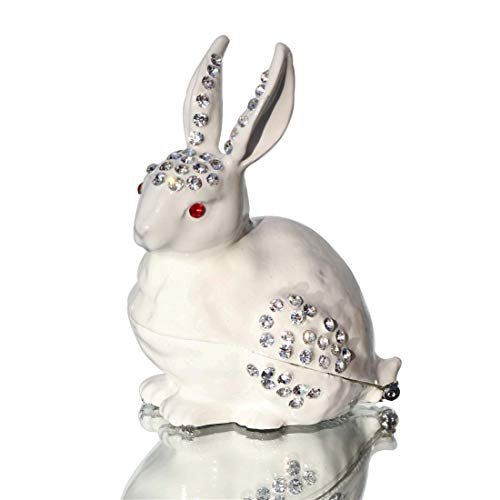 Waltz&F White Rabbit Hinged Trinket Box Bejeweled Hand-Painted Ring Holder Animal Figurine Collectible