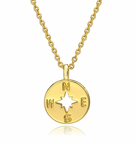 ESCALIE Compass Pendant Necklace, Compass Charm Necklace 24K Gold Plated, (24k Gold Pendant Charm)
