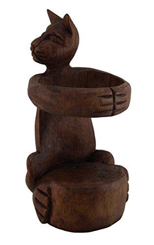 - Zeckos Kitty Cuddle Hand Carved Wooden Hugging Cat Wine Bottle Holder