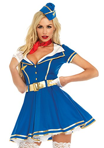 Pocahottie Sexy Adult Womens Costumes (Leg Avenue Women's 4 Pc Sexy Stewardess Costume, Blue, LARGE)