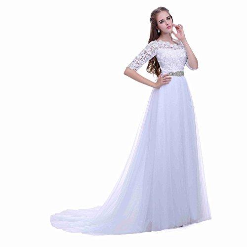 Pizzo Le Da Sposa Da Corte 2016 Perline Chiffon Aurora Cintura Donne Avorio Abiti Sposa Color Di YU1nwxq