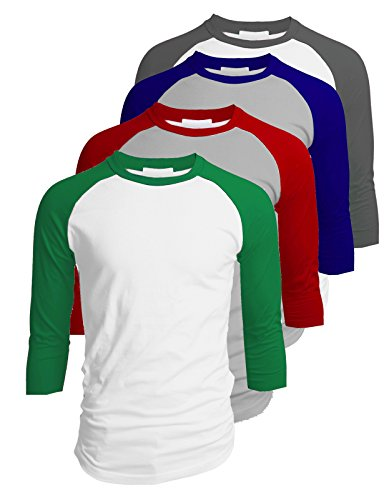TOP LEGGING TL Men's 4 Pack 3/4 Sleeve Baseball Cotton Crew Neck Jersey Raglan Tee Shirts S to 3XL - XLarge