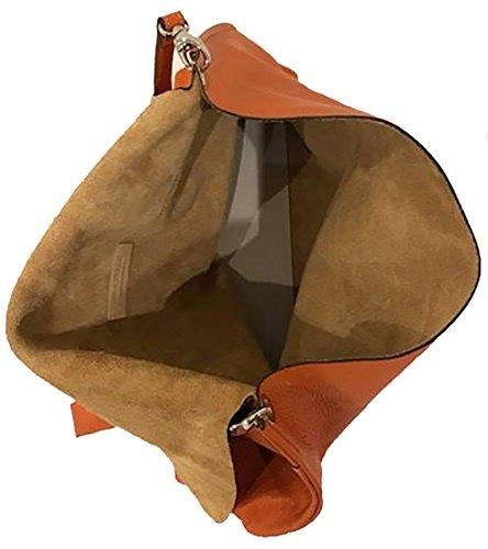 Borsa Donna Fatta a Mano Artigianato Italiano LITTLE PHATTY Pelle Evo Colore Arancio A Mano A Spalla A Tracolla 40 x 30 x 10 cm