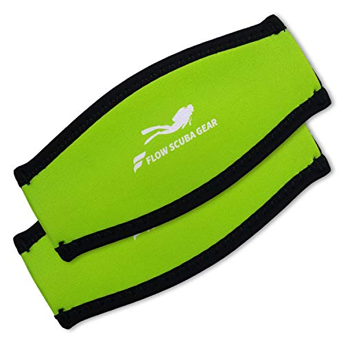 Flow Scuba Gear - Neoprene Cover for Dive and Snorkel Mask Strap (Green 2-Pack)