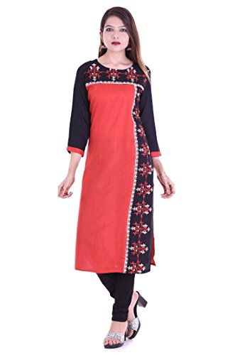 Chichi Indian Women Kurta Kurti 3/4 Sleeve Large Size Plain with Side Printed Straight Red-Black Top by CHI