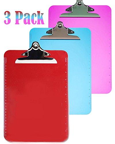 Klingy Transparent Plastic Clipboard, 9'' x 12'', 3 Pack, Vibrant Colors, Red/Blue/Purple by Klingy