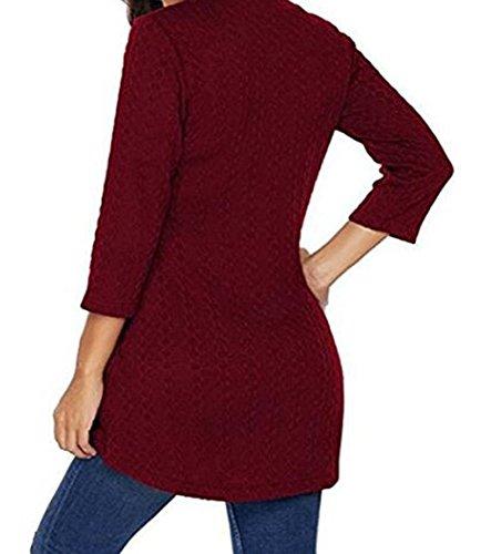 V Donna Camicie Maniche Sottile Maglieria Casual Mini Bluse 4 T e Maglione Tops Fashion Blouses Primavera 3 Rosso Scollo Shirt Autunno Vestiti Tunica aqwtZR4X