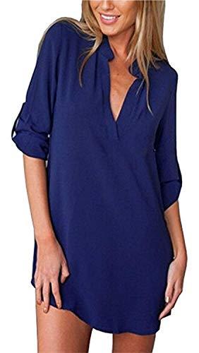 Impression lgant Femme Costume Manches Shirt Cou Mode Chic Mousseline Blau2 Printemps Mode Bandage Chemisiers Modle Longues Jeune Chemisier Button Casual V Et Unique Tops SWw7n8qwEd