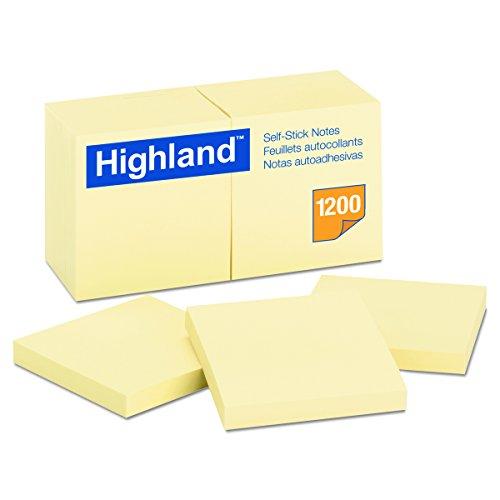 Notas autoadhesivas Highland 6549YW, 3 x 3, amarillo, 100 hojas (paquete de 12)