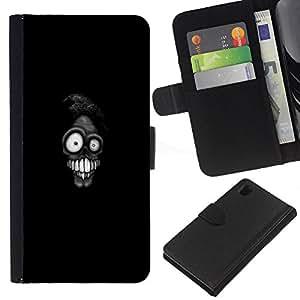 WINCASE Cuadro Funda Voltear Cuero Ranura Tarjetas TPU Carcasas Protectora Cover Case Para Sony Xperia Z1 L39 - miedo de la muerte de dibujos animados torpe