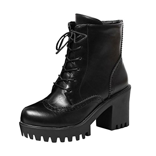 Agodor Womens Platform Lace up High Block Heel Ankle Boots Retro Carved Classic Shoes Black nrzd1l29