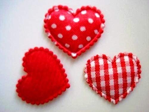 - 60 Mix Fabric Hearts Applique/Felt/Satin/Gingham//Trim/Sewing
