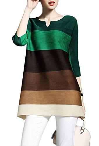 Vestitino Camicia Maniche Donna Casual Verde Collo Pullover Lunga Top Tunica Colore Cucitura Vestiti 4 Blouse Mini Camicie Sweatshirt Rotondo Estivi Bluse 3 JackenLOVE Fashion xUfqxCO