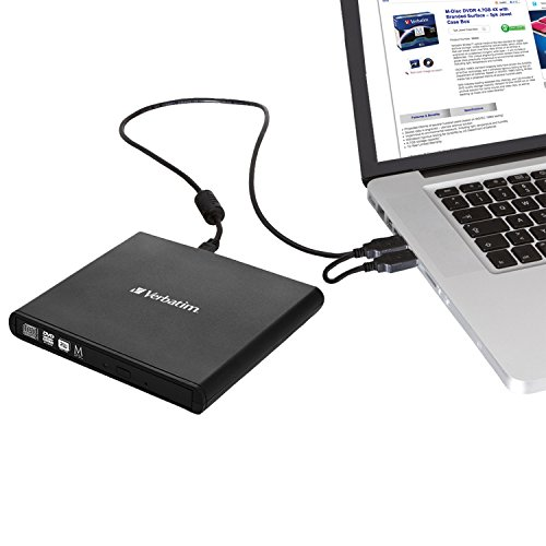 Verbatim External Cd Dvd Writer - Compact & Slimline - Usb Powered – Mac & Pc Compatible - Black