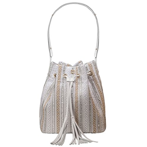 Eric Javits Luxury Fashion Designer Women's Handbag - Millicent - White/Silver