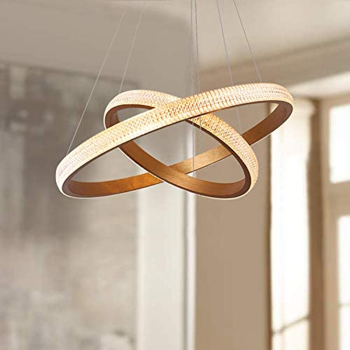 Leniure Modern Gold Two Tier Circular LED Light Pendant Lamp Chandelier Lighting Fixture 24 Wide 1.6 High, Warm White 3000K