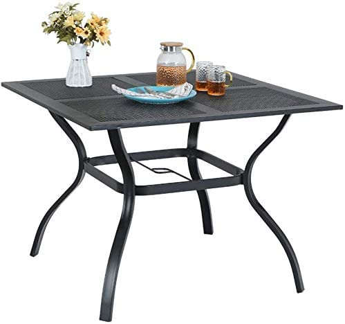 MFSTUDIO 37 x 37 Square Outdoor Dining Table Patio Bistro Table Powder-Coated Steel Frame Top Umbrella Stand Deck Outdoor Furniture Garden Table, Black