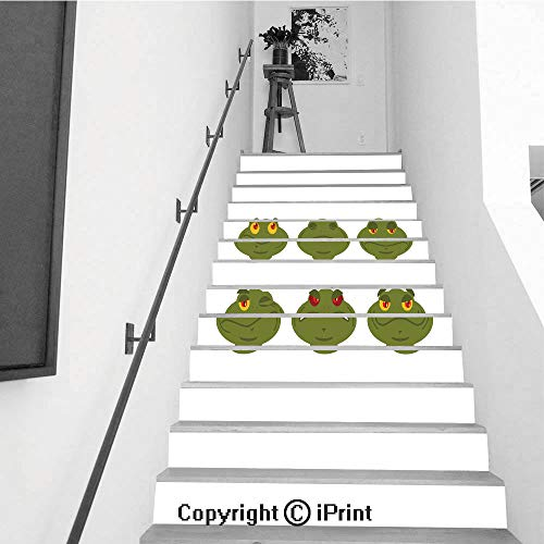 (Stair Stickers Wall Stickers,13 PCS Self-Adhesive,Stair Riser Decal for Living Room, Hall, Kids Room,Frog Emoji Set Toad Avatar Good and Evil Amphibious Sleeps and winks Joy and Sadness face Reptile)