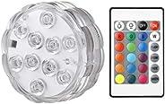 Luzes LED LED RGB LED Sumersíveis, operadas por bateria à prova d'água, luzes subaquáticas, base de vaso c