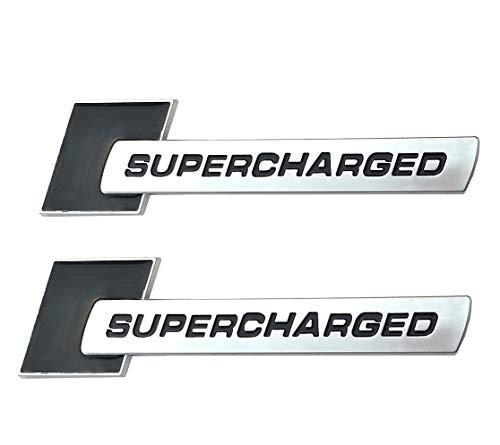 Chrome black Yuauto 2 Pack Supercharged Badge Emblems,3D Decal for Audi TT A3 A4 A5 A6 A7 A8 Q3 Q5 Q7 S4 S6 S5 RS5