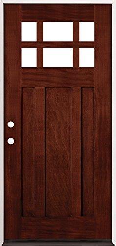 6-Lite Craftsman Mahogany Wood Entry Door #43, Right Hand - Right Hung Door