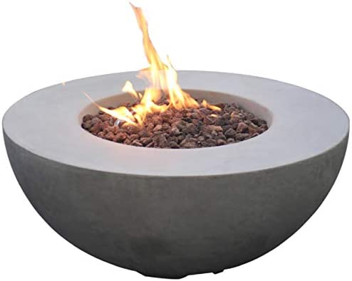 Modeno Roca Outdoor Gas Firepit Table 34 Inches Fire Pit Patio Heater Concrete Outside Electronic Ignition Backyard Fireplace Cover Lava Rock Included Natural Gas