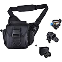Camera Shoulder Bag, Qcute Waterproof Multi-functional Tactical Military Messenger Shoulder SLR Camera Bag Pack Backpack with Shockproof Insert for Hiking Camping Trekking Cycling
