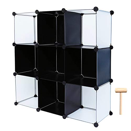 C Amp Ahome Diy 9 Cube Bookcase Storage Organizer Media Shelf Toy Rack For Kids Black Cross