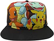 Bioworld Pokemon Core Characters Allover Print Youth Snapback Cap Hat Licensed Black