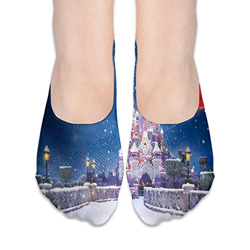 (No Show Socks Santa Claus Sitting On The Moon Great Womens Low Cut Sock Loafers Invisible Socks for)