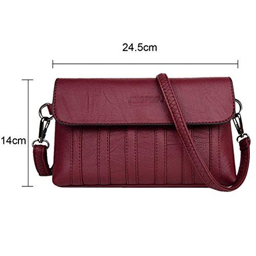 LA Sheepskin Leather Bags Shoulder HAUTE Messenger Bag Wine Women Crossbody Clutch Soft Red Bags Faux PU r1xwrT8
