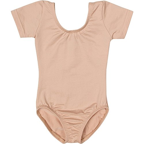 (Toddler and Girls Leotard for Dance, Gymnastics and Ballet with Short Sleeve Nude Beige I (6-7))