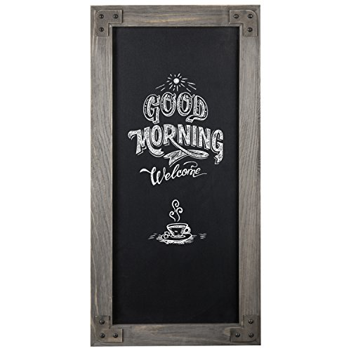 Vintage Chunky Wood (MyGift Rustic 25-Inch Wall-Mounted Chalkboard Sign with Gray Wood Frame)