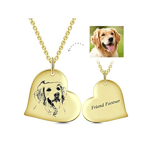 LONAGO Personalized Sketch Photo Necklace Sterling Silver Custom Your Dog/Cat/Family/Friend Picture Heart Shape Pendant 18K White Rose Gold Plated (Gold-Plated-Silver) (Heart Gold Tag 18k Necklace)