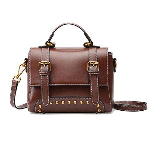GHMM Bolso de cuero de la mujer Messenger Bag Casual Tote Retro Street Casual Rivet de viaje (Color : Negro) Caramel colour