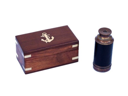 Hampton Nautical  Scout's Antique Copper/Leather Spyglass 7″ Telescope with Rosewood Box, Copper