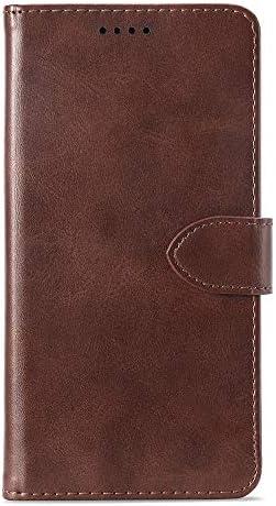 あなたの携帯電話を保護する ホルダー&カードスロット&財布付きサムスンギャラクシーS9 +用カーフテクスチャ水平フリップレザーケース (色 : 褐色)
