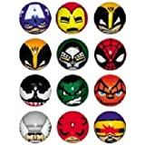 Avengers and Other Marvel Superhero Figures Soft Foam Ball Set of 12 with Tatto and Sticker Set