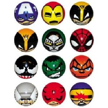 [Avengers and Other Marvel Superhero Figures Soft Foam Ball Set of 12 with Tatto and Sticker Set] (Avengers Superhero)
