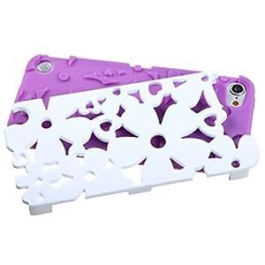 MyBat recarcasa de goma protector de la carcasa híbrido blanco de marfil / eléctrica del flower power púrpura sólido para el iPod touch 5