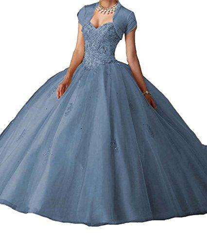 A Grau Blau Quinceanera Abendmode O Linie Formales Kleider W Lange Ballkleider D Brautkleider Party mit Jacke Frauen wqpxFRntTq