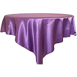 "Wedding Linens Inc.. 72"" Square satin table Overlays Toppers Tablecloths Table Overlay Cover Linens for Wedding Decoration Party Banquet Events - Victoria Lilac"