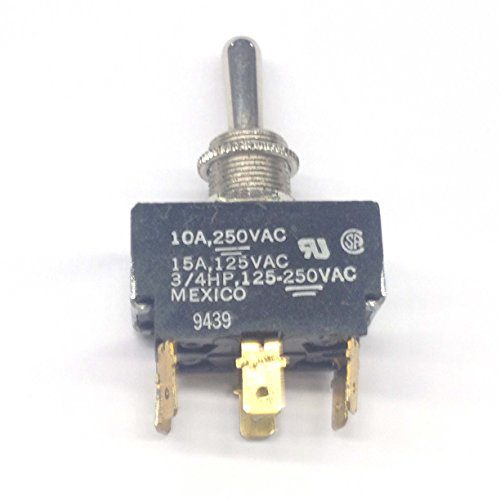 2GM53-75 Toggle Switch DPDT ON-OFF-ON, 15 Amp 125VAC Max, .187 QC Terminals (1 piece)