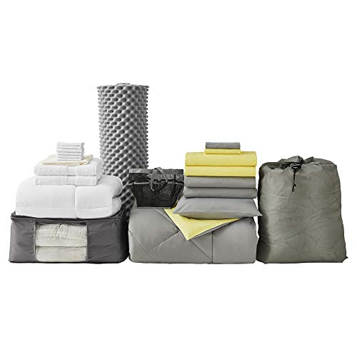College Dorm Bedding Pack - Twin XL - Limelight Yellow/Alloy Gray Color Set