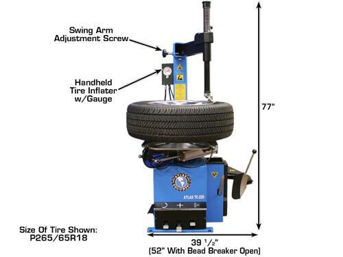 Atlas TC229 Electric/Pneumatic Wheel Clamp Tire Changer with Bead Blaster