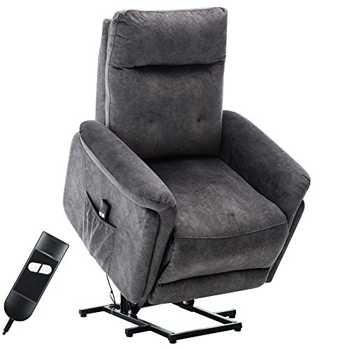 Bonzy Home Recliner Chair with Side Power Remote Controls Electric Power Lift Massage Recliner for Elderly, Modern Safety Motion Reclining Mechanism