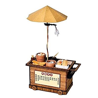 Wooden Intelligence toy BBQ Cart Barbecue Trolley Lighting House Wooden Model Kits DIY Model Christmas Gift kids toys Early Education Wood Toys (Color : B): Everything Else