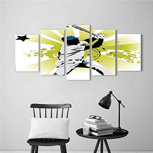 Wulian Paintings Combination of Decorative Frameless Sports Pitcher Hits The Ball Fast Stars All Over The Bat SpeedGame Motion Team for Living Room, Bedroom,Hotel and so on