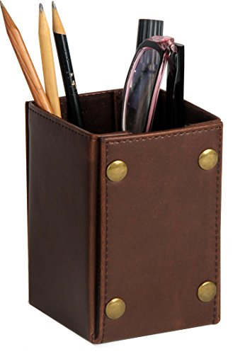 Ms Box PU leather Pens Pencils Holder Desktop Organizer, Brown - Brass Leather Table